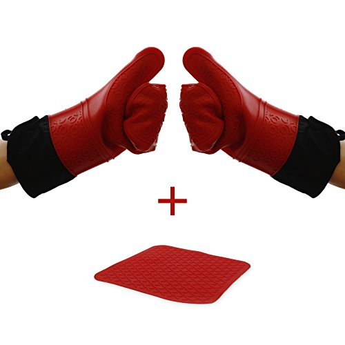 Elbee Home 642 Premium Extra Long Silicone Oven Mitts Set Soft Quilted Interior in, Red