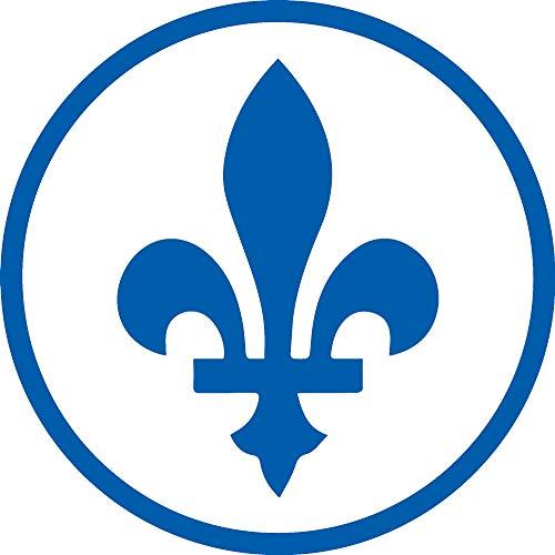 Quebec Sign Fleur De Lis (Azure Blue) Waterproof Vinyl Decal Stickers for Laptop Phone Helmet Car Window Bumper Mug Tuber Cup Door Wall - Decal Fleur Wall