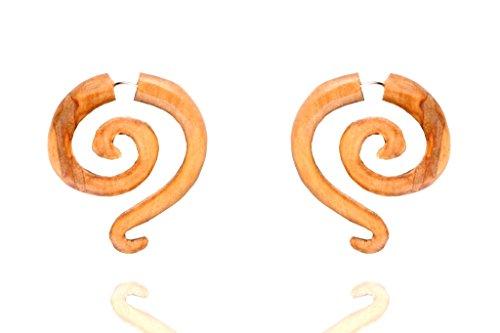 Tibetan Tribal Boho Handmade Wood Antique Wooden Beige Fake Gauge Earring WER439