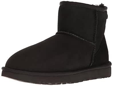 UGG Women's Classic Mini II Sheepskin Boot, Black, 36 EU