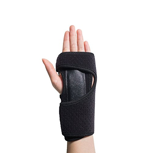 Splint Removable (Hand Brace Wrist Support with Removable Splint and Adjustable Wrap for Carpal Tunnel Arthritis Tendonitis Sports Injuries Fits Left Hand Black)