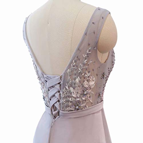 Weiß Perlen Spitze V Lange der Ballkleider Ausschnitt Hohe Frauen Abendkleid Formale Split P8wCqH