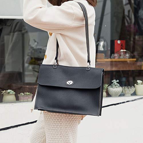 Hauteur Cm Grande Femme 10 Vintage Sac Largeur 33 À longueur Noir 24 Capacité Ethba Bandoulière Pour 5 5 fwaOYHHqx