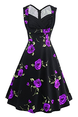 Killreal Women's 1950's Sweetheart Rose Vintage Floral Casual Party Cocktail Dress Plus Size Black/Purple 3X-Large (Dress Purple Black)
