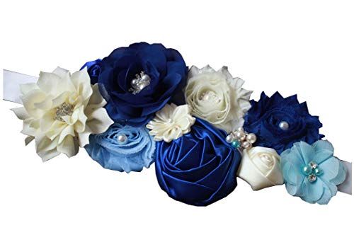 nania maternity pregnancy sash for Mon to be baby shower sash flower sash (Royal blue)