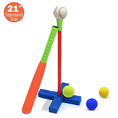 [Standard Size] CELEMOON Kids Foam T-Ball/Baseball Set Toy, 3 Different Sized Balls, Carry/Organize Bag Included, For Kids Over 3 Years Old