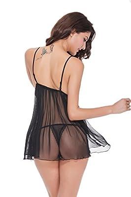 ifitto Lingerie Women Teddy Nightwear Lace Deep V Halter Babydoll Mini Bodysuit