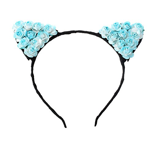 (Tvoip Cat Ears Headband Hair Hoop - Small Devil Cat Headband Paper Flower Hair Bands Girls Kids Headdress (Light Blue))