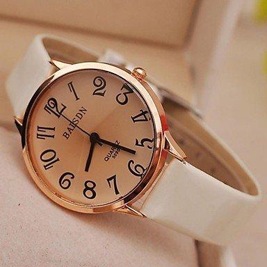 Reloj de la mujer Vintage números grandes cuarzo PU banda (colores surtidos), blanco: Amazon.es: Deportes y aire libre