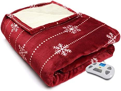 Serta Silky Plush Electric Heated Warming Blanket King Snowflake Merlot