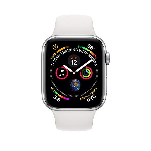 Apple Watch Series 4 (GPS + Cellular, 44mm) - Silver Aluminium Case with White Sport Band (Renewed)