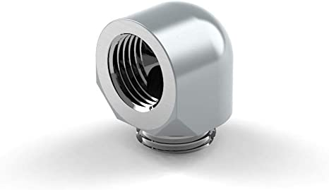 PrimoChill Male to Female G//14 90 Degree Rotary Elbow Fitting Silver Nickel