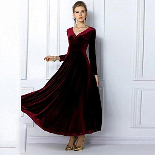 OverDose Las mujeres caliente vestido de terciopelo más tamaño de invierno tobillo Maxi Túnicas Casual trajes Vino