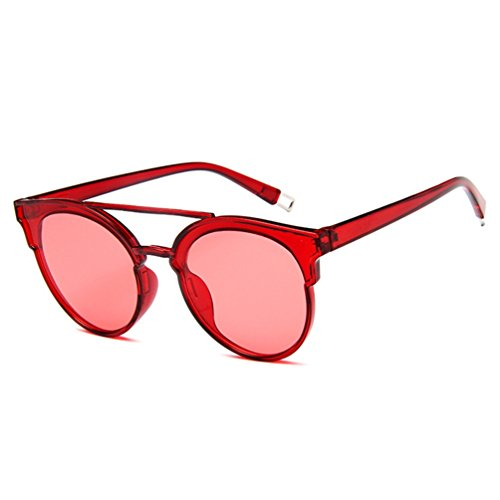 Sol Oversized de Sunglasses Rojo Hombres Mujer Retro Unisex Grandes LINNUO Eyewear Gafas nO1H78B