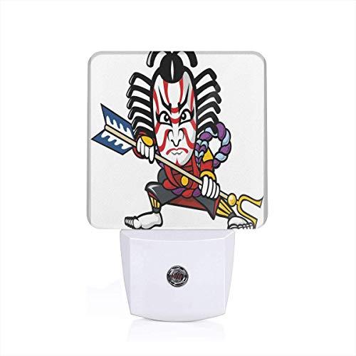 Xuforget Kabuki Mask Decoration Scary Looking Ronin Figure Ultra Slim LED Night Light with Auto Dusk to Dawn Sensor for Bathroom Hallway