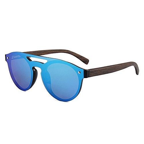 Piece para Lens sol Cool UV Gafas Conducción One Bamboo Pesca Polarized Men's ligero Leg Vacaciones Style Azul hombre Sunglasses Color de TAC Ultra Frame Protección libre Al aire PC Negro Playa wZ5pqXT
