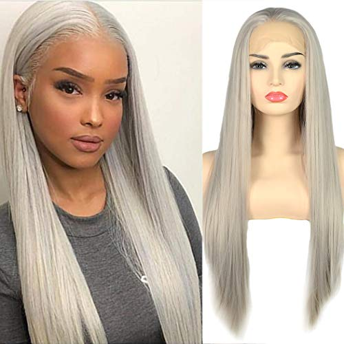 BLUPLE Silky Straight Lace Front Wigs Silver Platinum Gray Trendy Heat Resistant Synthetic Hair Half Hand Tied Wigs for Cosplay Daily Wear (22 inches, Straight,Platinum Gray) ()