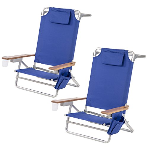 BestMassage Set of 2 Modern Design Beach Contemporary Camping Chair with Bamboo Armrest (Contemporary Bar Arms)
