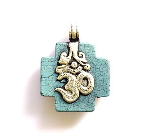 Reversible Turquoise Cross (Tibetan Silver OM CROSS PENDANT TURQUOISE GEMSTONE REVERSIBLE PENDANT HEALING AMULET BOHO PENDANT UNISEX PENDANT MONKEY ENGRAVING DESIGN PENDANT)