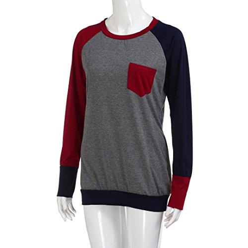 ras dcontract sweat du LILICAT mode chic la femmes couture shirt 3XL La red couleur collge S de poche bloc Vtements longues col des cou manches 6wAqq