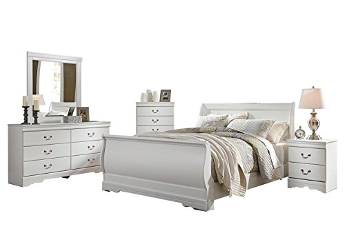 Ashley Anarasia 5PC Queen Sleigh Bedroom Set With Chest In White