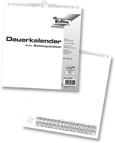 folia 23600 - Dauerkalender, Bastelkalender, mit Spiralbindung, 23 x 24 cm, weiß, für Bilder und Fotos bis max. 13 x 18 cm