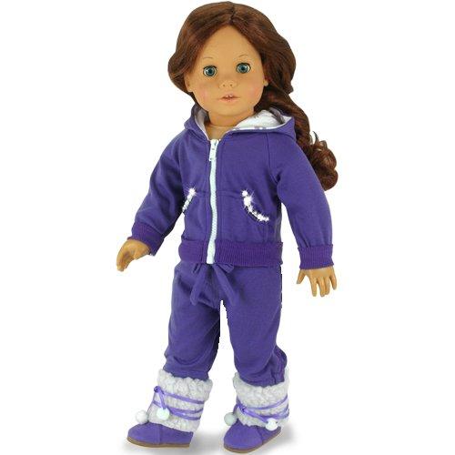 Hooded Purple Sparkle Capri Doll Sweatsuit Set Fits American Girl Dolls Sophias 18 Inch Doll Outfit 2 Pc