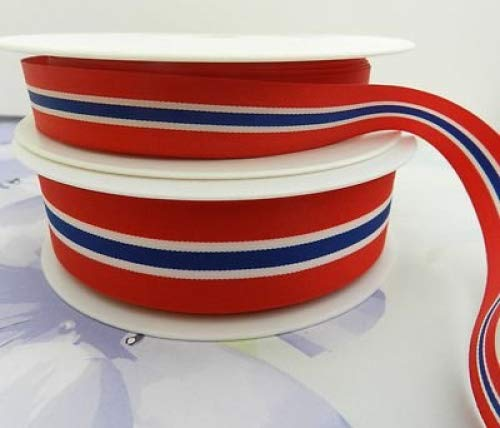 Always Knitting And Sewing 2 Metres Norwegian Flag Ribbon Red Blue White Norway, 40mm