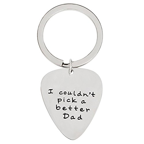 XYBAGS I Couldn't Pick a Better Dad Guitar Pick Keychain, Fathers Day Birthday Gift for Daddy Papa Father Stepdad