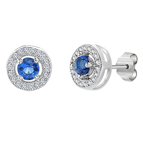 Blue Sapphire and Cubic Zirconia Round Circle Halo Stud Gift Earrings for Women in Rhodium Plated 925 Sterling Silver ()