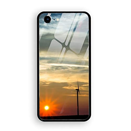 Modern Windmill iPhone 7 Case Luxury Tempered Glass Back Cover with Soft TPU Bumper Frame Shock Absorption 360 Degree Full Protection ()