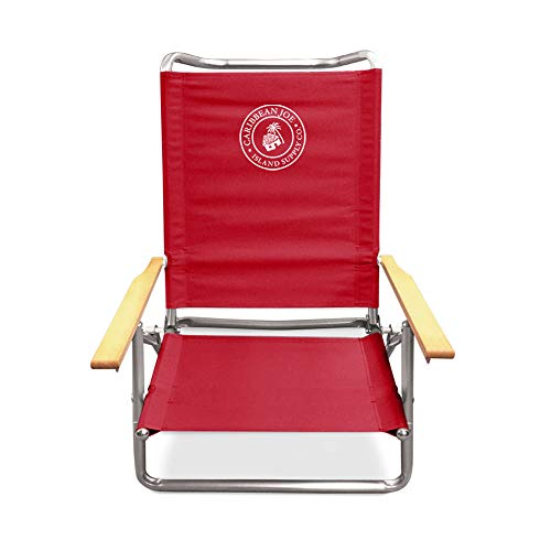 Caribbean Joe CJ-7740RED Five Position Folding Beach Chair with Wood arms, Red