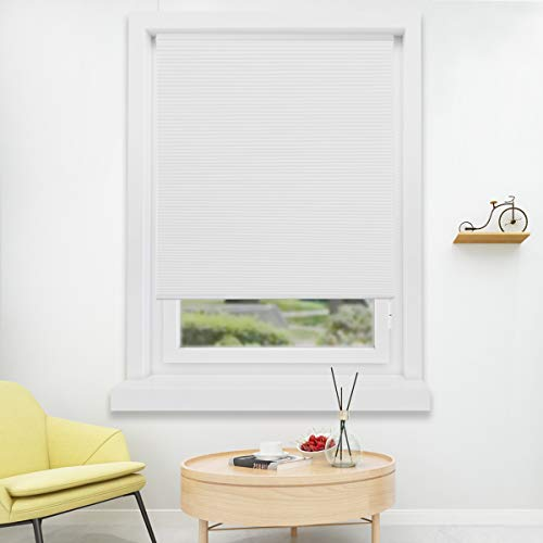 HOMEDEMO Cellular Honeycomb Blinds Single Cell Pleated Shades White (Privacy & Light Filtering) 31W x 64H Cordless Easy Lift Inside & Outside Mount for - Cell Single Cellular Shades