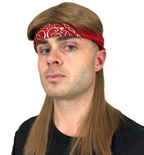 2 pc. Premium Brown Mullet Rocker Wig + Red Bandana: 80s Rockstar Wig 90s 70s 80s Wigs for Men Women Kids Adults Kid's Rocker Costumes Rock Star 80's Wigs Halloween Mens Rock Wigs Rockstar Costume