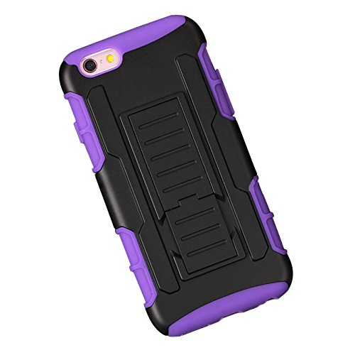 Etui de telephone portable - TOOGOO(R)Housse etui case Protecteur avenir armure impact fort hybride + Sac hausse de Clip etui Stand telephone etui violet pour iPhone 6 Plus/6sPlus