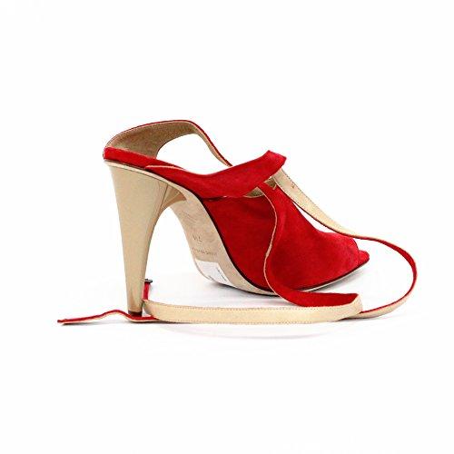 7 para todo tipo de en el talón abierto para dedo del pie la humanidad y pedrería para mujer estándar del Reino Unido 4, de £156 rojo - rojo