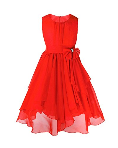 FEESHOW Kids Big Girl Asymmetric Chiffon Flower Wedding Bridesmaid Party Dress Red 14]()