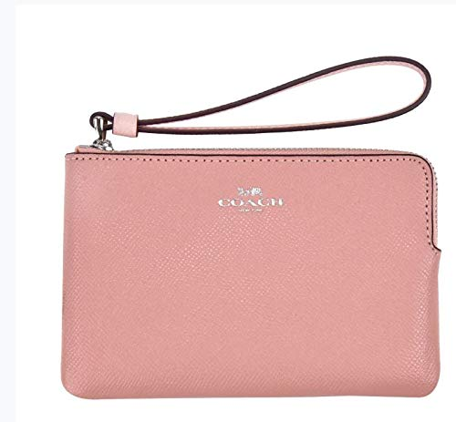 Coach Crossgrain Leather Corner Zip Wristlet (Petal)