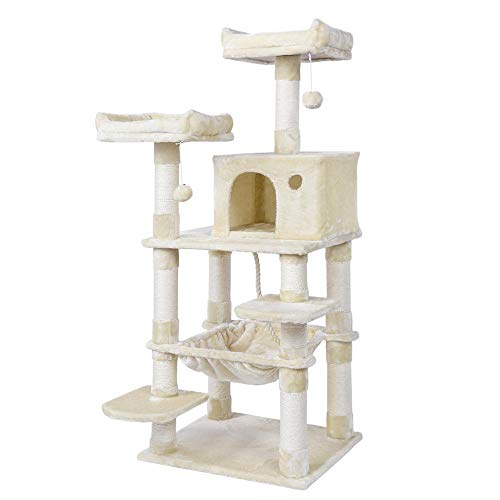 Yaheetech 58in Luxurious Multi-Level Cat Tree Condo, Stable Kitten Activity Tower Play House with Sisal-Covered Scratching Posts Perches Hammock and Funny Toys (Cat Condos Hammock)