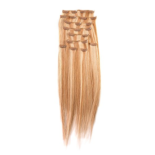 """Price comparison product image Sono 1 Count 120 g 18"""" Clip-in Straight Sono 1 Count 100% Human Hair Extensions, #27/613 Light Blonde & Strawberry"""