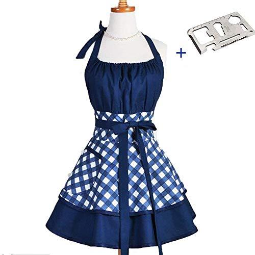 JIURUN Lady Lovely Princess Sweetheart Cotton Apron for Woman Cooking Kitchen, White/Blue