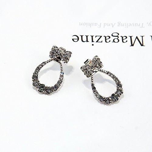 Sweet Bow Flash Diamond Earrings earings Dangler Eardrop Oval Drop Necklace Pendant Creative Korean Women Girls Students