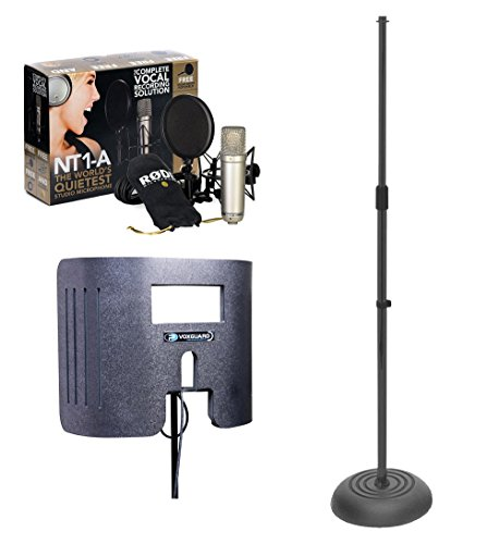 RODE NT1-A Cardioid Condenser Microphone with VoxGuard VU and Round Base Mic Stand - Vu De Round
