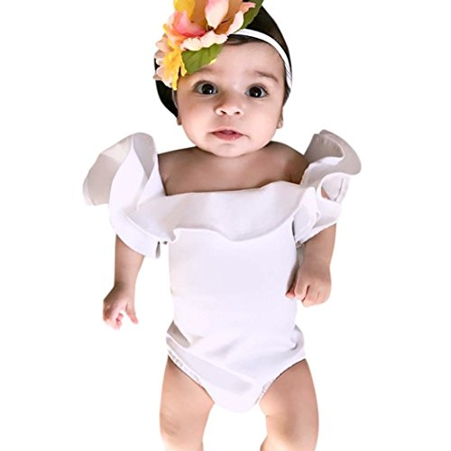 (FEITONG Newborn Baby Girls Ruffles Sleeve Romper Solid Playsuit Clothes (3Month, White))