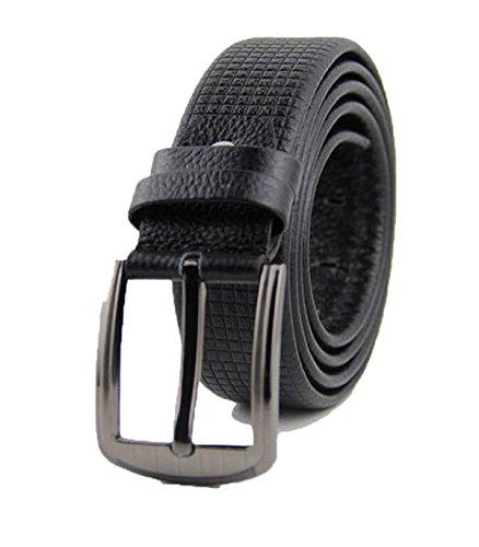 - DIDIDD Men belts lattice embossing casual needle buckle belt,Black,115Cm