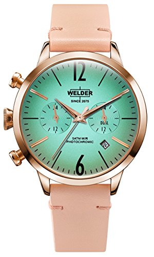 Welder Moody Pink Leather Dual Time Rose Gold-Tone Watch with Date 38mm