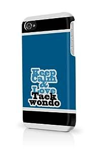 Blue Keep Calm And Love Taekwondo iPhone 4 Case Fits iPhone 4 & iPhone 4S Full Print Plastic Snap On Case