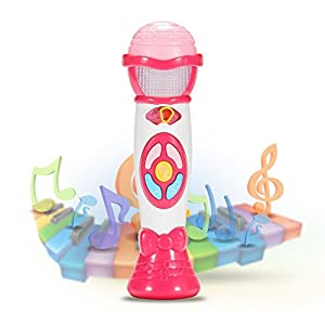 Acekid Kid's Music Microphone Toys, Children Singing Toys Voice Changing and Recording Karaoke Microphone, Idea for Children's Day, Birthday (Pink)