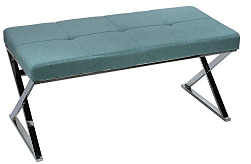 Office Bench Metal - Cortesi Home Zio Contemporary Metal Entryway X- Bench in Sea Breaze Blue Fabric