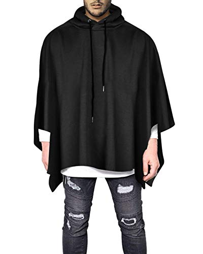 Demetory Men's Solid Color Oversized Batwing Sleeves Hooded Poncho Cape Black X-Large ()